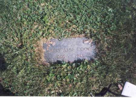 COOK, MARY ANN - Fairfield County, Ohio | MARY ANN COOK - Ohio Gravestone Photos