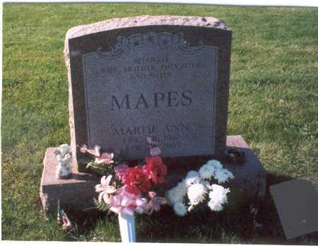 MAPES, MARTA ANN - Fairfield County, Ohio | MARTA ANN MAPES - Ohio Gravestone Photos