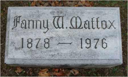 MATTOX, FANNY W. - Fairfield County, Ohio   FANNY W. MATTOX - Ohio Gravestone Photos