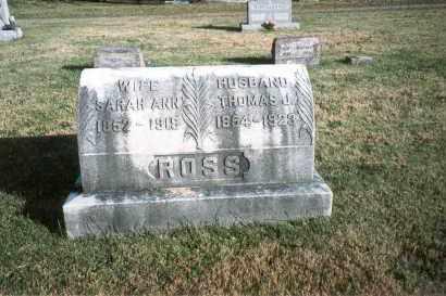 ROSS, SARAH ANN - Fairfield County, Ohio | SARAH ANN ROSS - Ohio Gravestone Photos