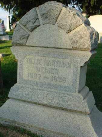 HARTMAN WEISER, TILLIE - Fairfield County, Ohio | TILLIE HARTMAN WEISER - Ohio Gravestone Photos
