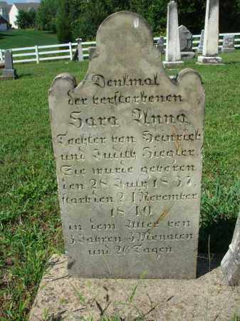 ZIEGLER, SARA ANNA - Fairfield County, Ohio | SARA ANNA ZIEGLER - Ohio Gravestone Photos
