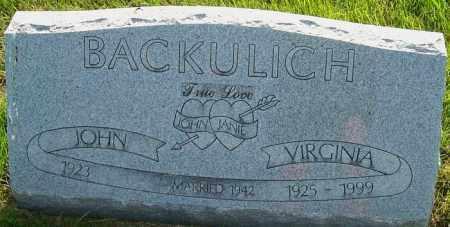 BACKULICH, VIRGINIA - Franklin County, Ohio | VIRGINIA BACKULICH - Ohio Gravestone Photos