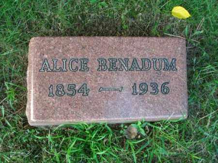 BENADUM, ALICE - Franklin County, Ohio   ALICE BENADUM - Ohio Gravestone Photos