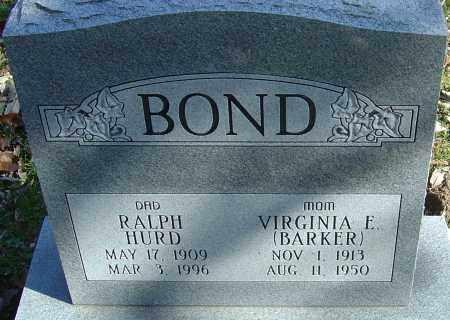BARKER BOND, VIRGINIA ELIZABETH - Franklin County, Ohio | VIRGINIA ELIZABETH BARKER BOND - Ohio Gravestone Photos