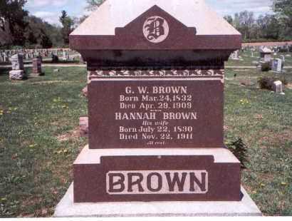 BROWN, HANNAH - Franklin County, Ohio   HANNAH BROWN - Ohio Gravestone Photos