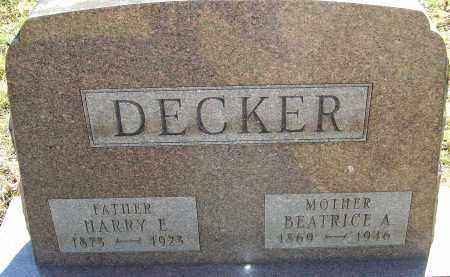 DECKER, HARRY E - Franklin County, Ohio | HARRY E DECKER - Ohio Gravestone Photos