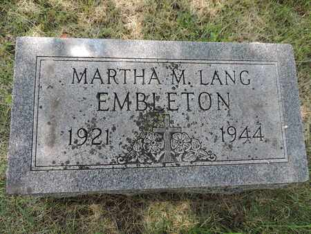 EMBLETON, MARTHA M. - Franklin County, Ohio | MARTHA M. EMBLETON - Ohio Gravestone Photos