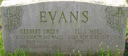 EVANS, HERBERT EMLYN - Franklin County, Ohio | HERBERT EMLYN EVANS - Ohio Gravestone Photos