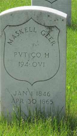 GEER, MASKELL - Franklin County, Ohio | MASKELL GEER - Ohio Gravestone Photos