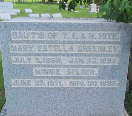 HITE SELGER, MINNIE - Franklin County, Ohio | MINNIE HITE SELGER - Ohio Gravestone Photos
