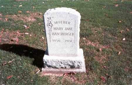 HANSBERGER, MARY JANE - Franklin County, Ohio   MARY JANE HANSBERGER - Ohio Gravestone Photos