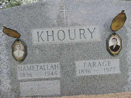 KHOURY, NAMETALLAH - Franklin County, Ohio | NAMETALLAH KHOURY - Ohio Gravestone Photos