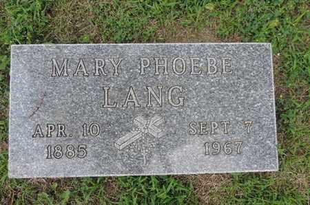 LANG, MARY PHOEBE - Franklin County, Ohio | MARY PHOEBE LANG - Ohio Gravestone Photos