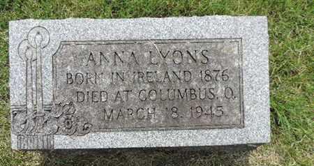 LYONS, ANNA - Franklin County, Ohio | ANNA LYONS - Ohio Gravestone Photos