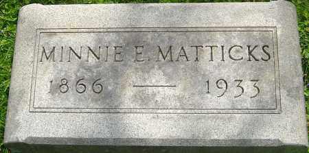 MEDIAK MATTICKS, MINNIE E - Franklin County, Ohio | MINNIE E MEDIAK MATTICKS - Ohio Gravestone Photos