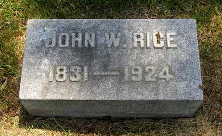 RICE, JOHN W. - Franklin County, Ohio   JOHN W. RICE - Ohio Gravestone Photos