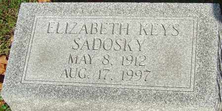 SADOSKY, ELIZABETH - Franklin County, Ohio | ELIZABETH SADOSKY - Ohio Gravestone Photos
