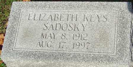 KEYS SADOSKY, ELIZABETH - Franklin County, Ohio | ELIZABETH KEYS SADOSKY - Ohio Gravestone Photos