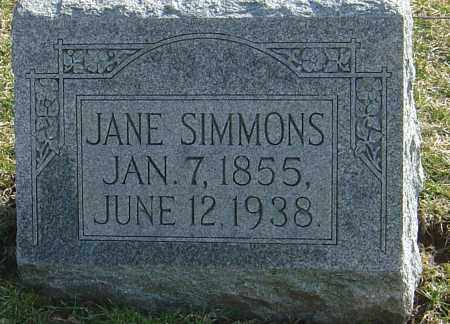SIMMONS, JANE - Franklin County, Ohio | JANE SIMMONS - Ohio Gravestone Photos