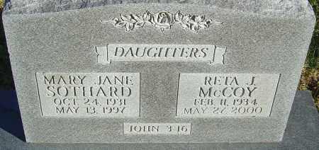 SOTHARD MCCOY, RETA J - Franklin County, Ohio | RETA J SOTHARD MCCOY - Ohio Gravestone Photos