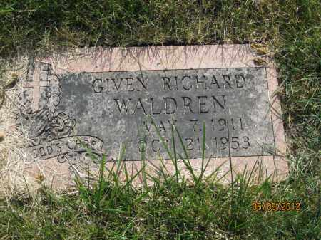 WALDREN, GIVEN RICHARD - Franklin County, Ohio | GIVEN RICHARD WALDREN - Ohio Gravestone Photos