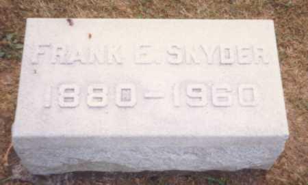 SNYDER, FRANK E. - Fulton County, Ohio   FRANK E. SNYDER - Ohio Gravestone Photos
