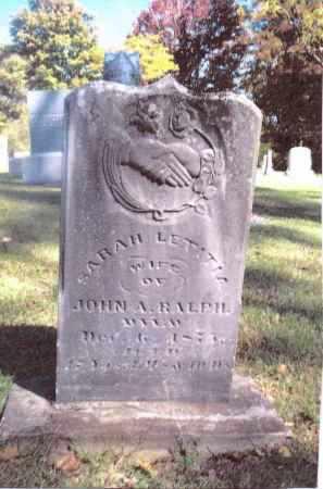 RALPH, SARAH LETITIA - Gallia County, Ohio   SARAH LETITIA RALPH - Ohio Gravestone Photos