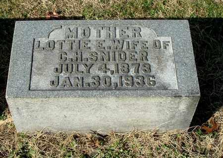 SNIDER, LOTTIE E - Gallia County, Ohio | LOTTIE E SNIDER - Ohio Gravestone Photos