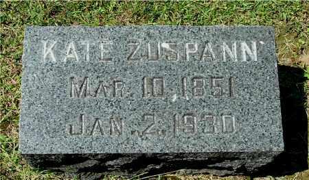 ZUSPANN, KATE - Gallia County, Ohio | KATE ZUSPANN - Ohio Gravestone Photos