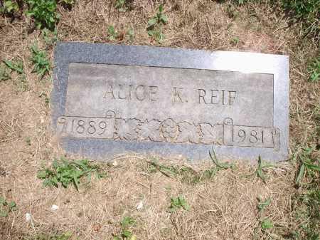 REIF, ALICE - Hamilton County, Ohio   ALICE REIF - Ohio Gravestone Photos