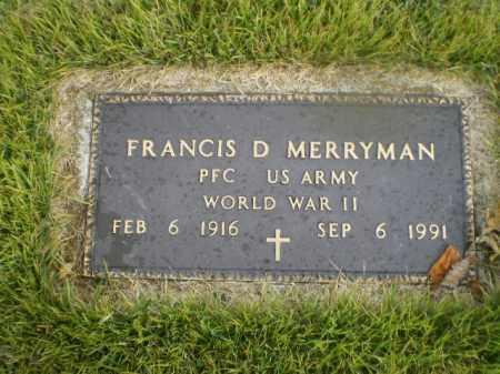 "MERRYMAN, FRANCIS D. ""TANK"" - Harrison County, Ohio   FRANCIS D. ""TANK"" MERRYMAN - Ohio Gravestone Photos"
