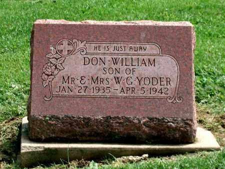 YODER, DON WILLIAM - Holmes County, Ohio   DON WILLIAM YODER - Ohio Gravestone Photos