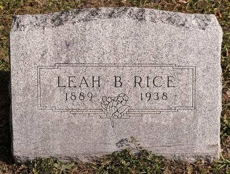 RICE, LEAH B - Huron County, Ohio | LEAH B RICE - Ohio Gravestone Photos