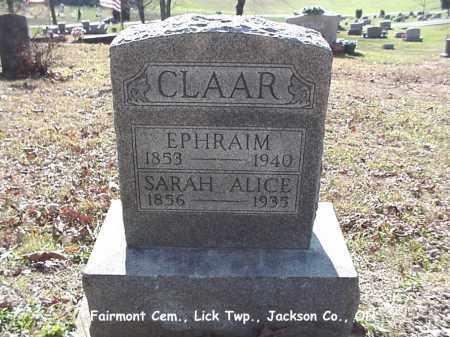 NANCE CLAAR, SARAH ALICE - Jackson County, Ohio | SARAH ALICE NANCE CLAAR - Ohio Gravestone Photos