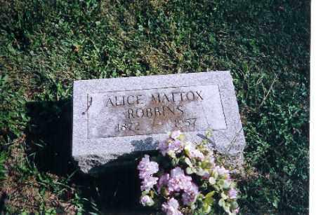 ROBBINS, ALICE L MATTOX - Logan County, Ohio   ALICE L MATTOX ROBBINS - Ohio Gravestone Photos