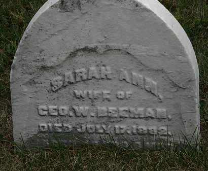 BEEMAN, SARAH ANN - Lorain County, Ohio | SARAH ANN BEEMAN - Ohio Gravestone Photos