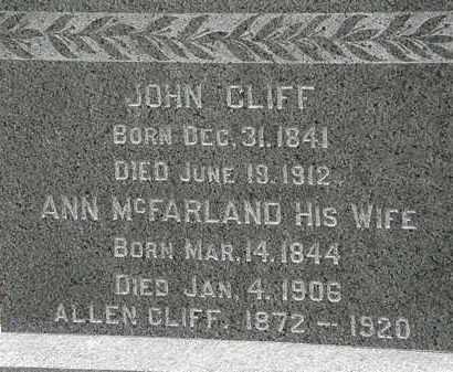 MCFARLAND CLIFF, ANN - Lorain County, Ohio | ANN MCFARLAND CLIFF - Ohio Gravestone Photos