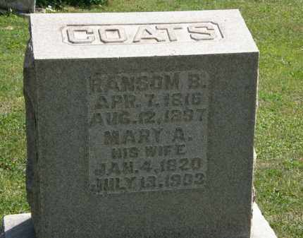 COATS, RANSOM B. - Lorain County, Ohio | RANSOM B. COATS - Ohio Gravestone Photos
