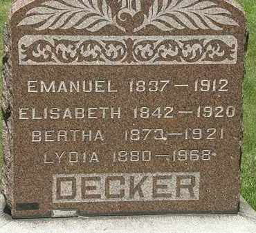 DECKER, BERTHA - Lorain County, Ohio | BERTHA DECKER - Ohio Gravestone Photos
