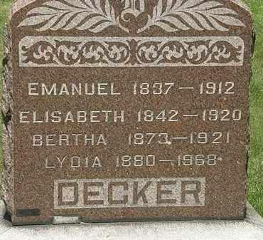 DECKER, BERTHA - Lorain County, Ohio | BERTHA DECKER - Ohio Gravestone Photos