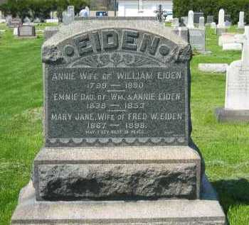 EIDEN, MARY JANE - Lorain County, Ohio | MARY JANE EIDEN - Ohio Gravestone Photos
