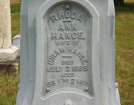HANCE, RHODA ANN - Lorain County, Ohio | RHODA ANN HANCE - Ohio Gravestone Photos