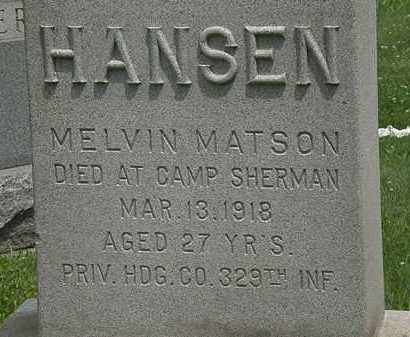 HANSON, MELVIN MATSON - Lorain County, Ohio   MELVIN MATSON HANSON - Ohio Gravestone Photos