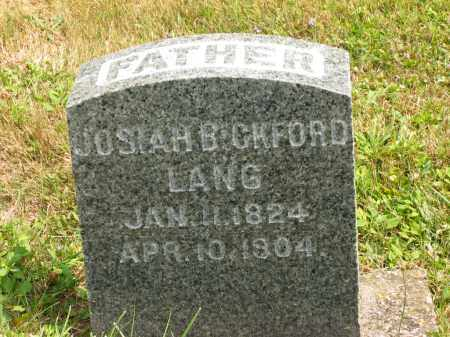 LANG, JOSIAH BICKFORD - Lorain County, Ohio | JOSIAH BICKFORD LANG - Ohio Gravestone Photos