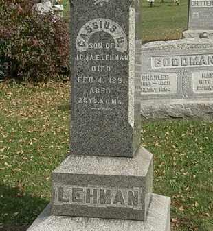 LEHMAN, CASSIUS U. - Lorain County, Ohio   CASSIUS U. LEHMAN - Ohio Gravestone Photos