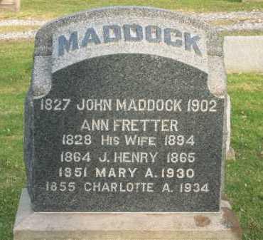 FRETTER MADDOCK, ANN - Lorain County, Ohio | ANN FRETTER MADDOCK - Ohio Gravestone Photos