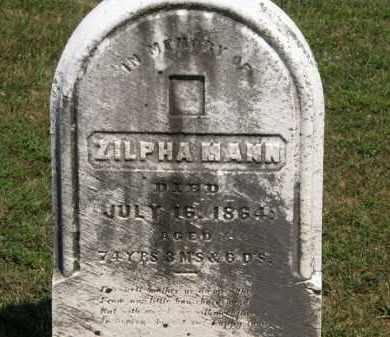 MANN, ZILPHA - Lorain County, Ohio | ZILPHA MANN - Ohio Gravestone Photos