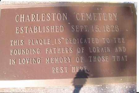 PLAQUE, CHARLESTON CEMETERY - Lorain County, Ohio | CHARLESTON CEMETERY PLAQUE - Ohio Gravestone Photos