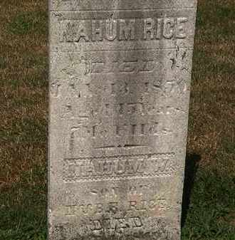 RICE, NAHUM - Lorain County, Ohio | NAHUM RICE - Ohio Gravestone Photos